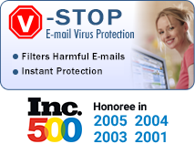 V-stop E-mail Virus Protection - Filters Harmful E-mails - Instant Protection - Automatically Updates - For only $1 per month!